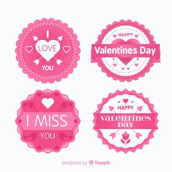 Flat valentine's day badge collection