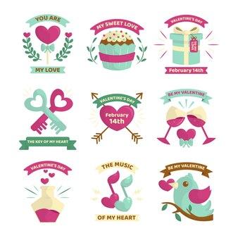Flat valentine's day badge pack