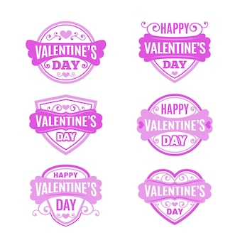 Flat valentine's day badges