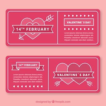 フラワーバレンタインバナーmonolines