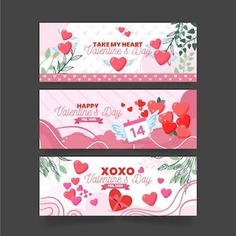 Collezione di banner piatto di san valentino