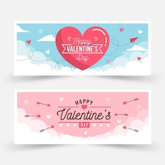 Flat valentine's day banners collection
