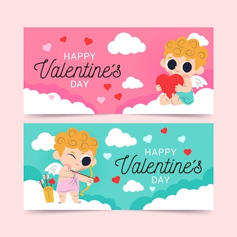 Flat valentine's day banners pack