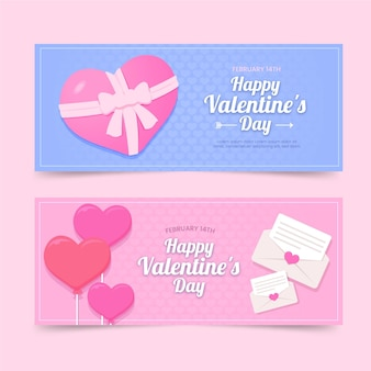 Flat valentine's day banners set
