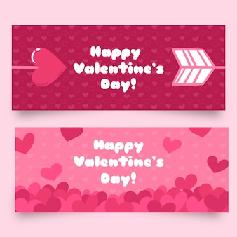 Flat valentine's day banners with arrows and hearts