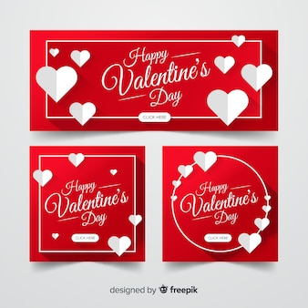 Flat valentine's day banners