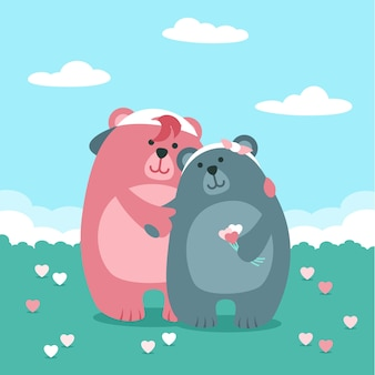 Flat valentine's day bears couple