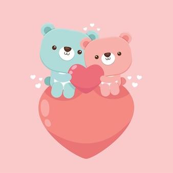 Flat valentine's day bears