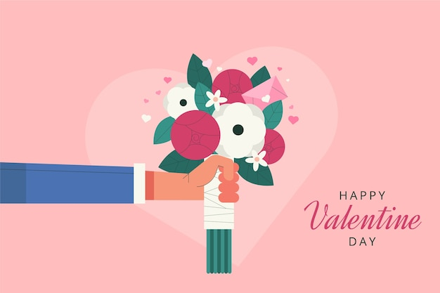 Flat valentine's day bouquet background
