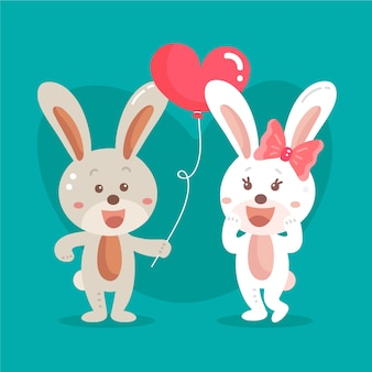 Flat valentine's day bunnies couple