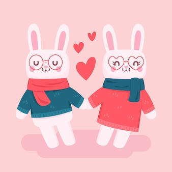 Flat valentine's day bunny couple