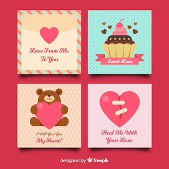 Flat valentine's day card collection