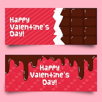 Flat valentine's day chocolate banners