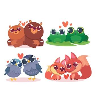 Плоская коллекция на день святого валентина с милой иллюстрацией животных
