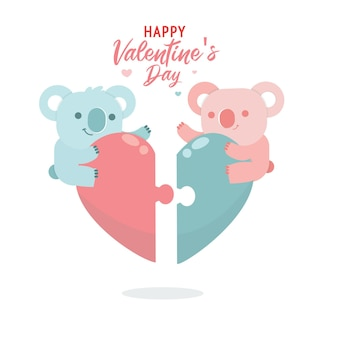 Flat valentine's day collection with cute illustration