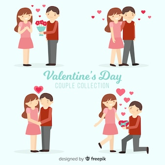 Flat valentine's day couple collection