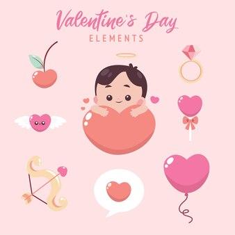 かわいいイラストとフラットバレンタインデーの要素コレクション