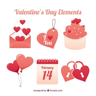 かわいいイラスト付きフラットなバレンタインデー要素コレクション
