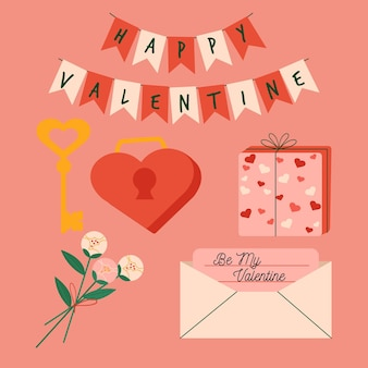 Flat valentine's day element collection