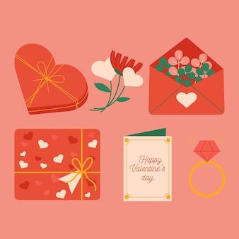 플랫 발렌타인 요소 집합