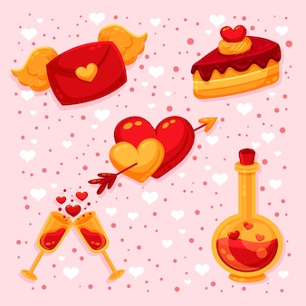 Flat valentine's day element set