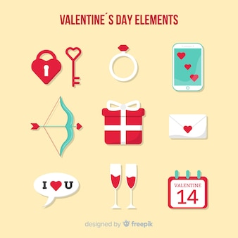 Flat valentine's day elements collection