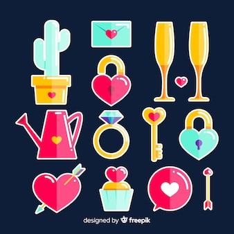 Плоский день святого валентина коллекция элементов