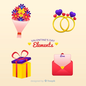 Flat valentine's day elements pack