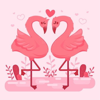 Flat valentine's day flamingo couple