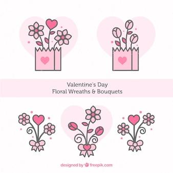 플랫 발렌타인 꽃 화환 및 꽃다발