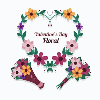Flat valentine's day flower collection