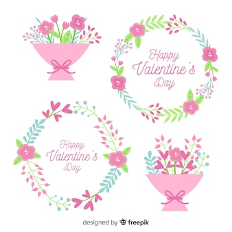 Flat valentine's day flowers collection