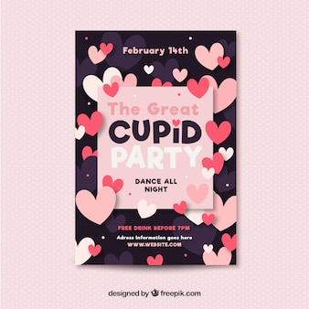 Flat valentine's day flyer/poster template