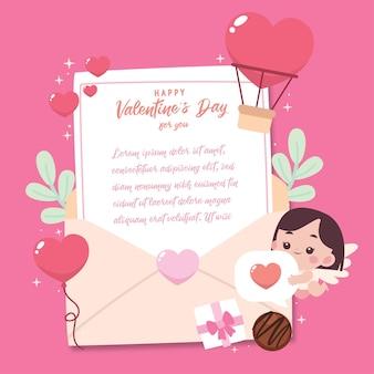 Плоская открытка на день святого валентина с милой иллюстрацией