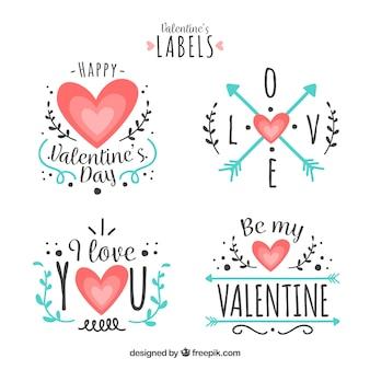 平らなバレンタインデーのラベル/バッジコレクション