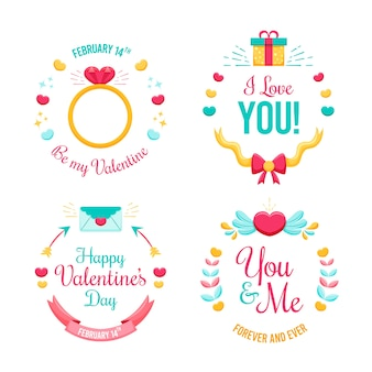 Flat valentine's day label/badge collection
