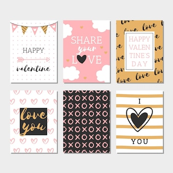 Flat valentine's day label collection
