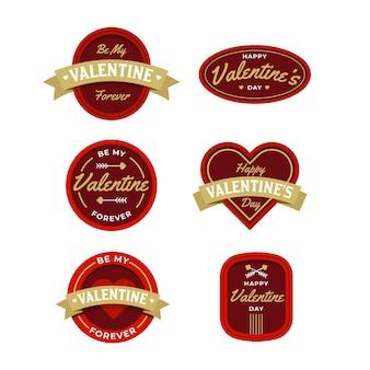 Коллекция плоских этикеток на день святого валентина