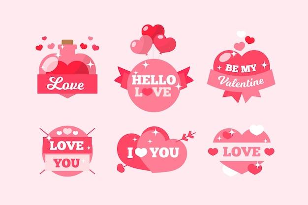 Flat valentine's day label pack
