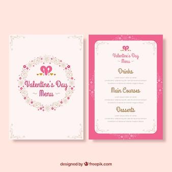 Flat valentine's day menu in pink colour