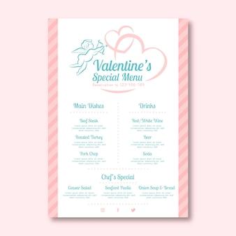 Плоский шаблон меню дня святого валентина с купидоном