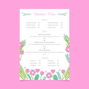 Flat valentine's day menu template