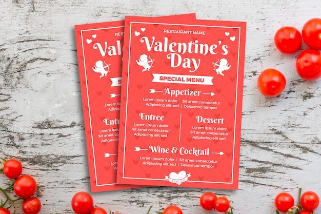 Плоский шаблон меню на день святого валентина