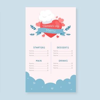 Flat valentine's day menu template