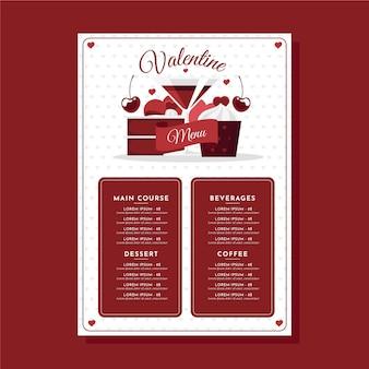 Плоский шаблон меню дня святого валентина