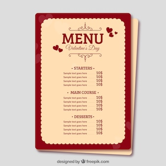 플랫 발렌타인 메뉴