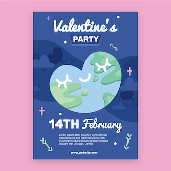Flat valentine's day party flyer/poster template
