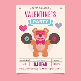 Flat valentine's day party flyer template