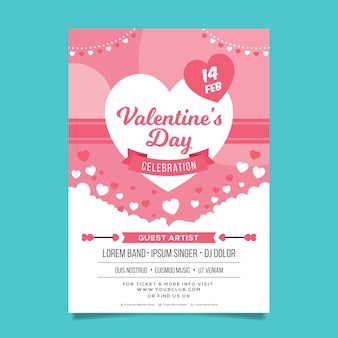 Flat valentine's day party flyer