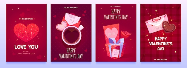 Flat valentine's day party flyers